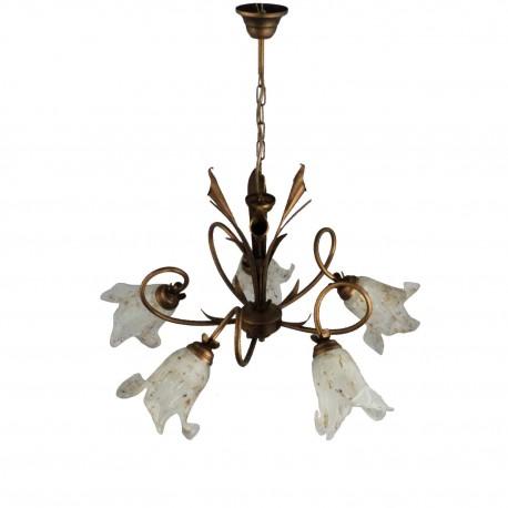 Lampa wisząca Kalia pięć żarówek kolor miedź (brązowo-złot)