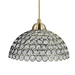 Lampa półkula pojedyncza kryształki patyna