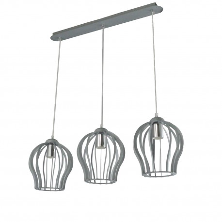 Lampa ażur duży 3-ka srebro mat