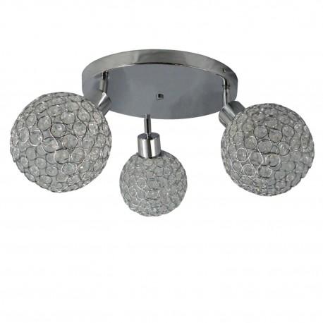 Plafon lampa chrom połysk kryształki trójka