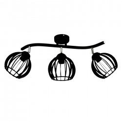 Lampa ażurowa sufitowa industrialna 3-ka czarna