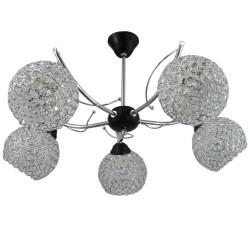 Lampa wisząca żyrandol chromowana piątka kryształki